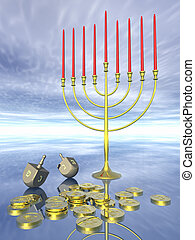 Hanukkah celebration Dreidel Jewish tradition 3D rendering...
