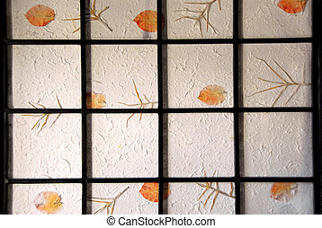 Rice paper screen - Fragment of a japanese rice paper screen...