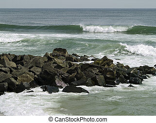 Rock and Surf - Rough surf on a Spring day along the Jersey...