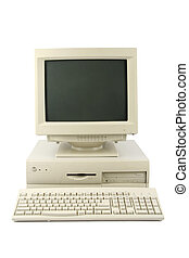 desktop computer - isolated old desktop computer