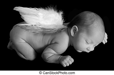 Angelic Infant Sleeping - Infant Child Sleeping on Black...