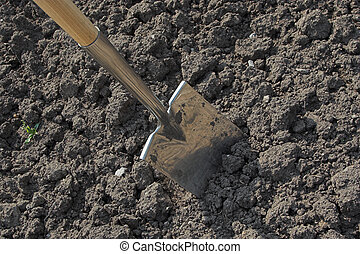 Digging - A spade in the act of digging into the soil