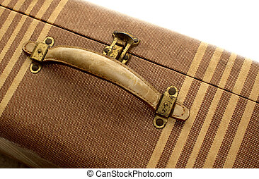 vintage suitcase 1 - old tan suitcase with beige stripes