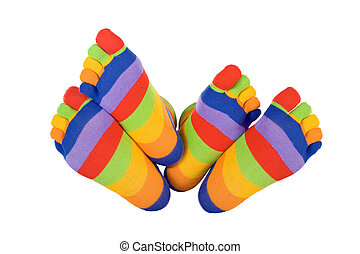 Man and woman feets in funny socks touching (isolated) -...