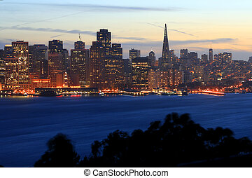 San Francisco Skyline - San Francisco skyline at sunset from...