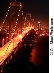 Night, Bay Bridge,SF - Bay Bridge at sunset in San...