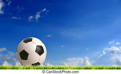 football - european football bal against blue sky