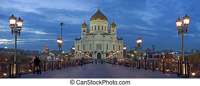 Christ the savior cathedral in Moscow Night view