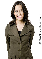 Great Smile - A pretty young woman in large olive green coat...