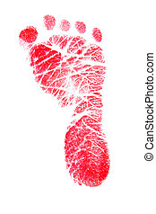 Red Footprint  - Red baby\'s foot print on  white