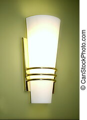 Wall Lamp - wall sconce fixture against green wall...