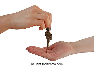 Handing over the Keys, isolated on white background