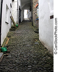 old cottages with cobble path - old cottaages with narrow...