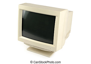 crt monitor - isolated old computer crt monitor
