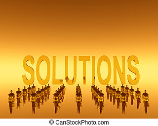 Your workteam, solutions - 3D illustration, background....