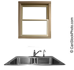 Kitchen Sink - a window overlooking a kitchen sink on a...