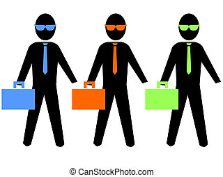 business men illustration - colourful business men with...