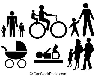 assorted family silhouettes including bicycle baby and pram