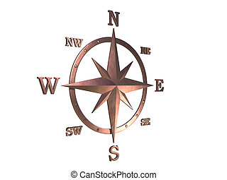 3D generated compass, wind rose out of copper material with...