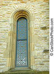 Church Antique Leaded Window - Architectural detail and...