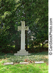 Memorial Cross Grave Marker At Spring Grove Cemetery