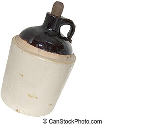 Corn Squeezins - Antique pottery moonshine jug with wooden...