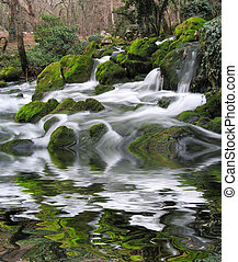 Falls on the mountain river with boulders the overgrown with...