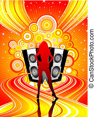 Disco diva - Silhouette of a female on a funky music...
