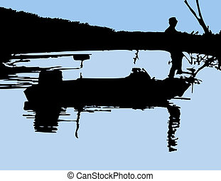 Fisherman - Lone fisherman on the bow of his boat done in...