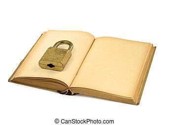 開いた, 本, 古い, ナンキン錠