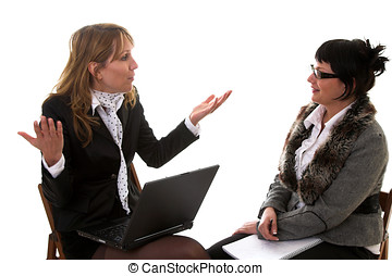 Business discussion - Two business women having a lively...