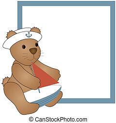 Teddy Bear and boat - A teddy bear holding a sailboat over a...