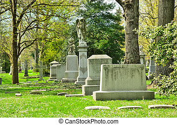 Memorial grave markers at historic Spring Grove Cemetery in...