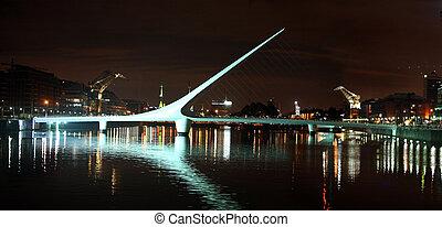 Buenos Aires at night - Woman bridge (Puente de la Mujer) in...