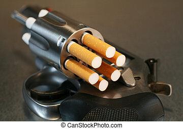 Cigarrillo, revólver