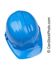helmet - isolated blue hard-hat on white background, focus...