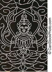 Buddhist design on a temple window grill