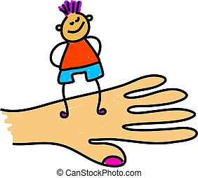 child care - giant hand holding a child - toddler art series