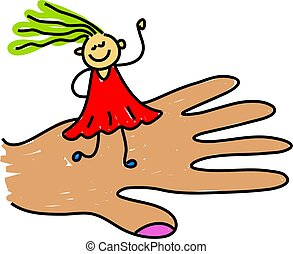 child care - giant hand holding a little girl - toddler art...