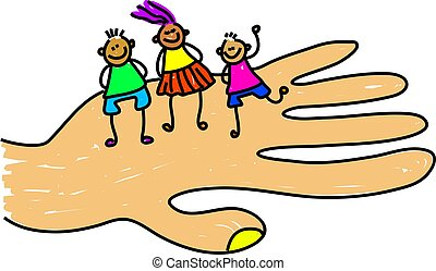 child care - giant hand holding a group of children -...