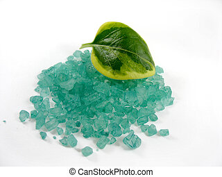minerals and leaf - isolated green minerals on white...