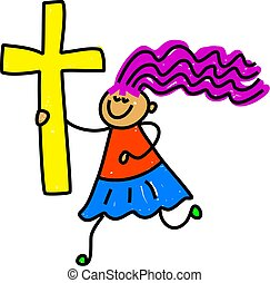 cross kid - happy little girl holding an easter cross -...