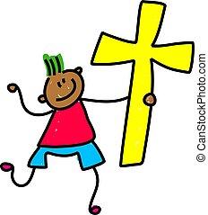 cross kid - happy little ethnic boy holding an easter cross...