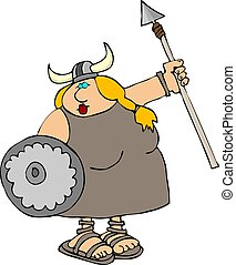 Viking Woman - This illustration depicts a Viking woman with...