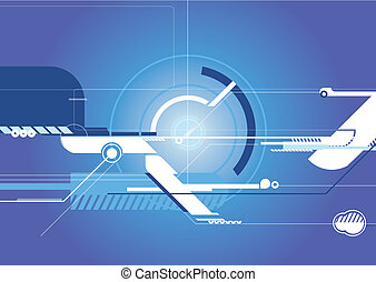 Techno Background - Stock Illustration: Blue Techno...