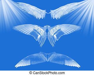 Blue heaven. - Wings on blue background with white ray of...