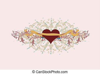 heart - Single ornate heart with a banner to add your text