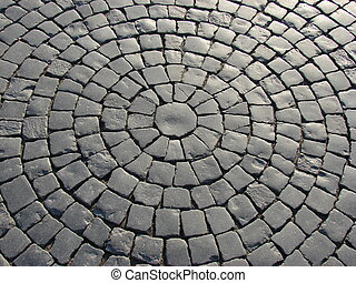 cobble street - a pert of a cobble street as a circle