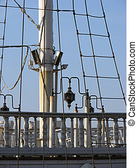 mast of replicaship - mast and railings of a replicaship in...
