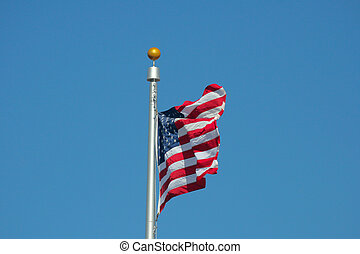 Stars & Stripes - The United States of America Flag flying...